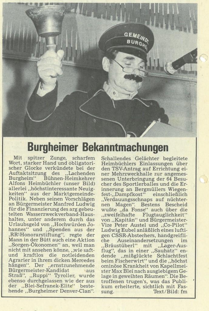 Bild von DAMALS: Burgheimer Bekanntmachung