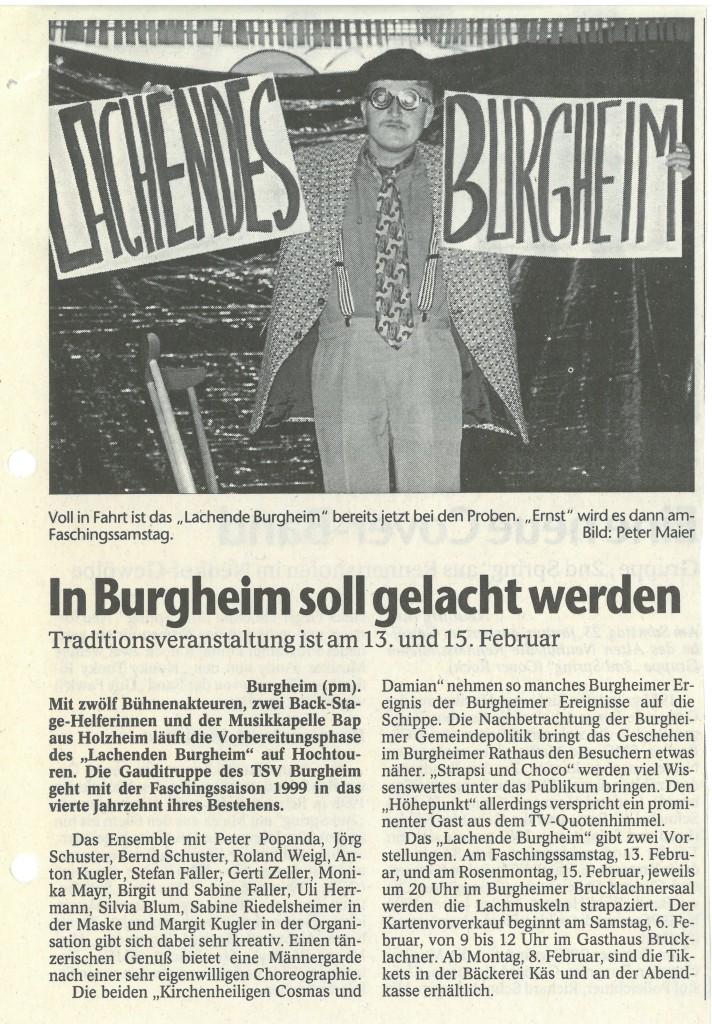 Bild von DAMALS: In Burgheim soll gelacht werden