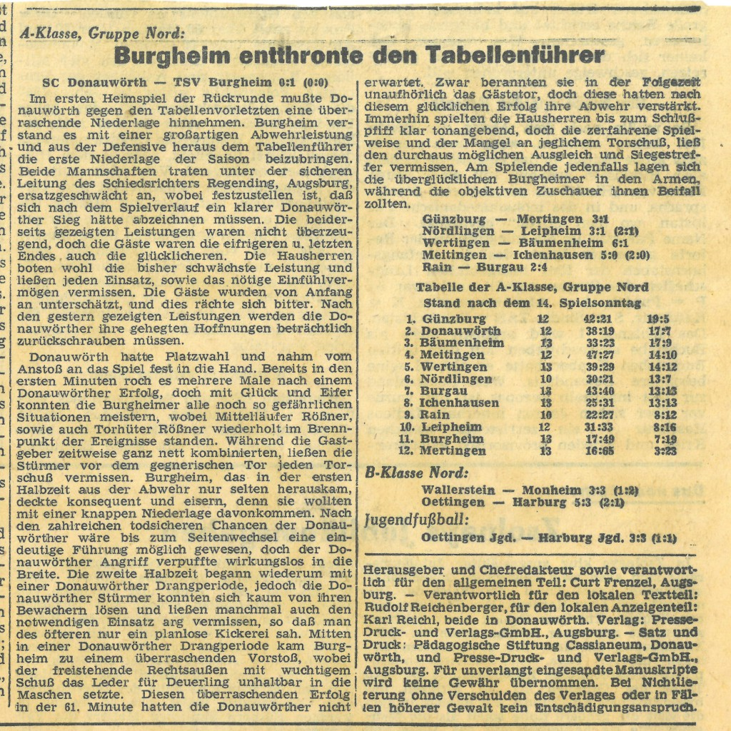 Bild von DAMALS: Burgheim entthronte den Tabellenführer
