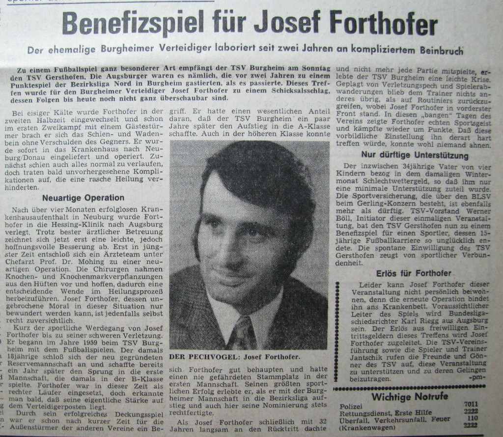 Photo of Damals: Benefizspiel für Josef Forthofer – Neuburger Rundschau 1975