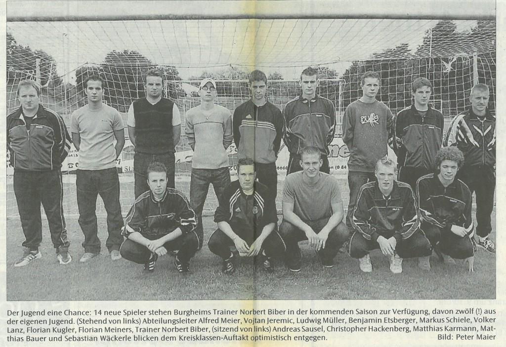 Bild von DAMALS: Kreisklassist TSV Burgheim setzt auf den Nachwuchs