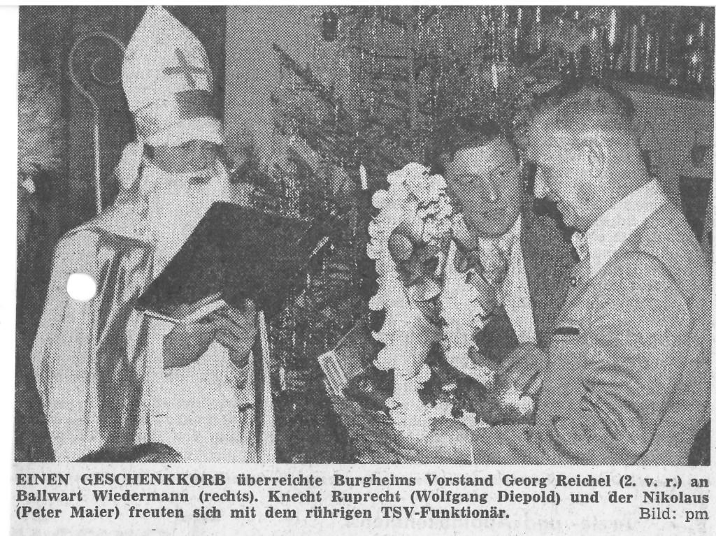 Bild von DAMALS: Weihnachtsfeier des TSV Burgheim