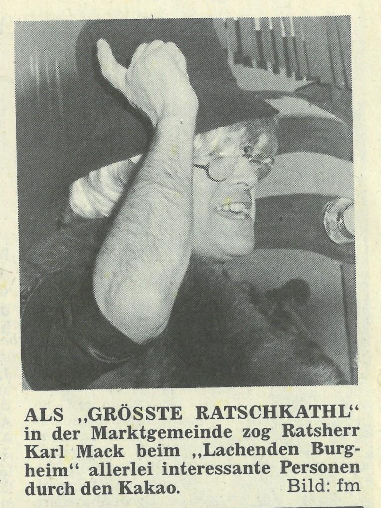 """Bild von DAMALS: """"Lachendes Burgheim"""" trieb zum Jubiläum dem närrischen Volk Tränen in die Augen"""