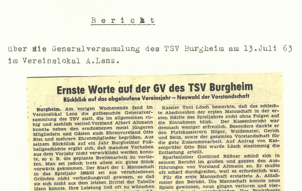Bild von DAMALS: Ernste Worte auf der GV des TSV Burgheim
