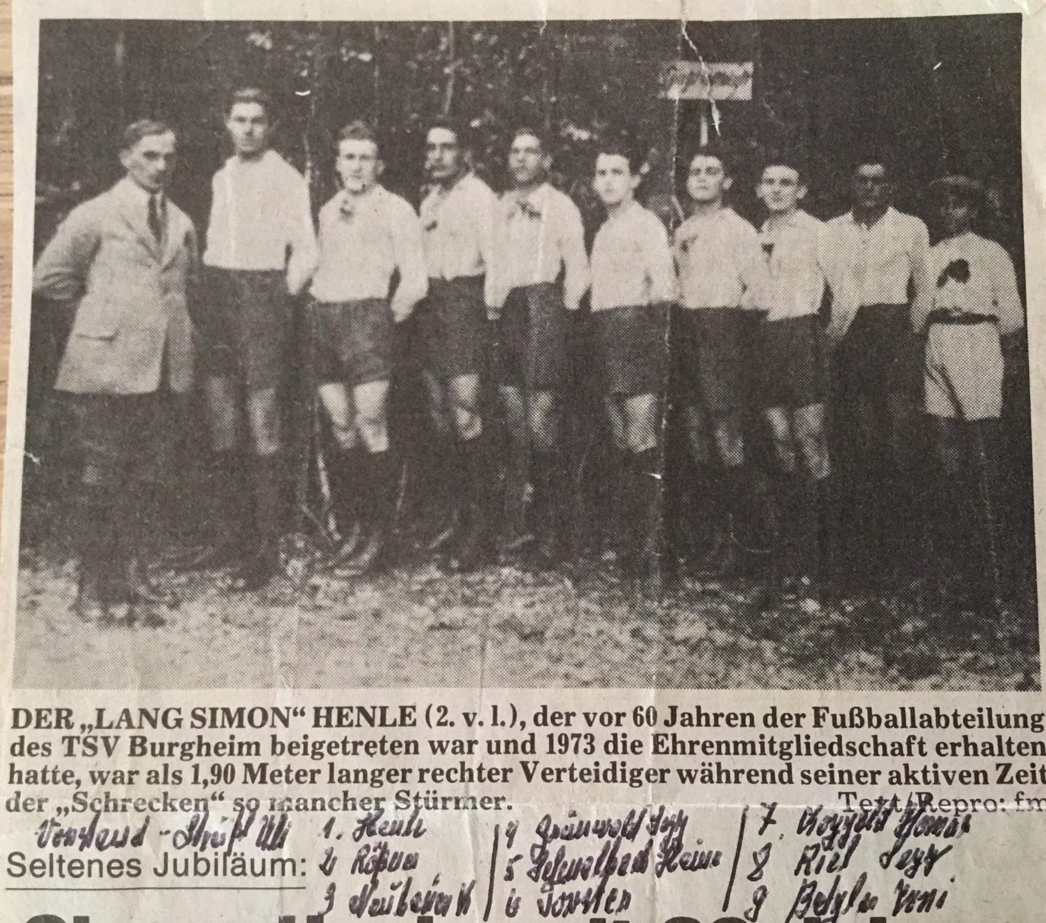 Bild von Damals: Simon Henle seit 60 Jahren Mitglied des TSV Burgheim