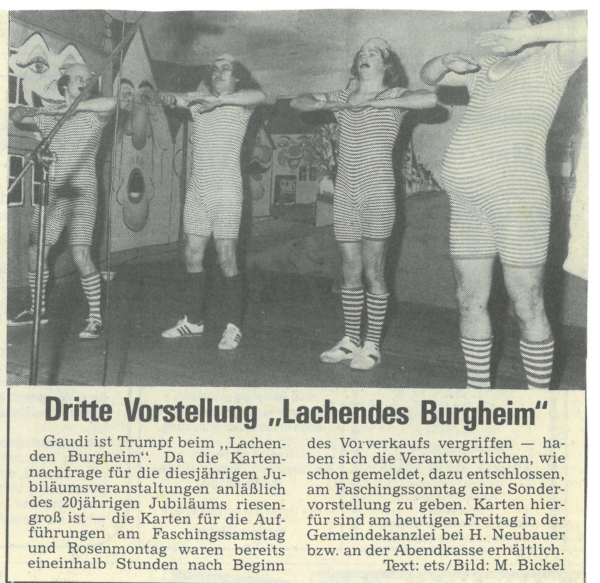 """Bild von DAMALS: Dritte Vorstellung """"Lachendes Burgheim"""""""