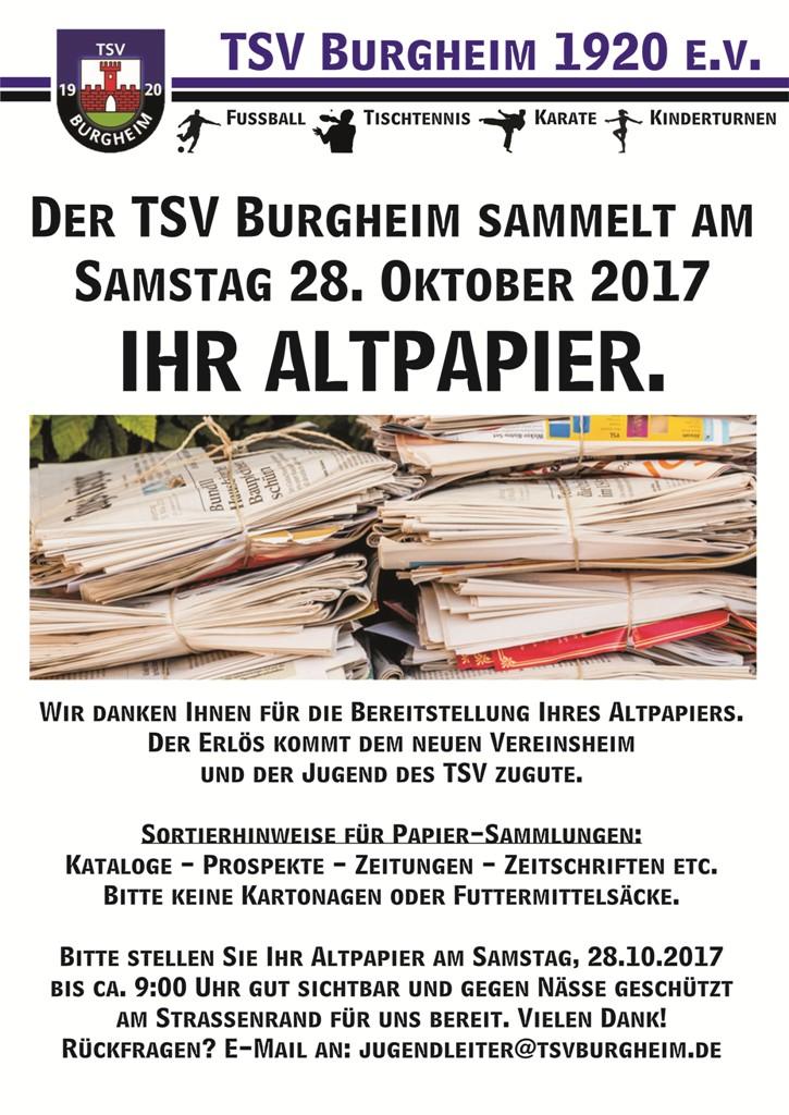 Bild von TSV – Altpapiersammlung Samstag 28. Oktober 2017