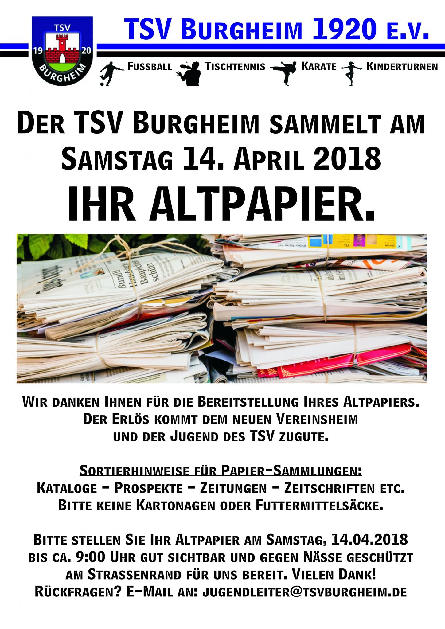 Bild von Der TSV Burgheim sammelt am Samstag 14. April IHR Altpapier