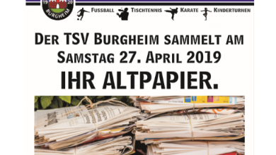 Photo of Der TSV Burgheim sammelt am Samstag 27. April Ihr Altpapier